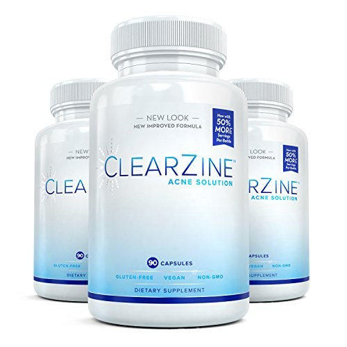 ClearZine Acne Pills for Teens & Adults (3 Bottles) | Clear Skin Supplement, Vitamins for Hormonal & Cystic Acne | Stop Breakouts, Oily Skin with Milk Thistle, Pantothenic Acid & Zinc, 90 Caps Each