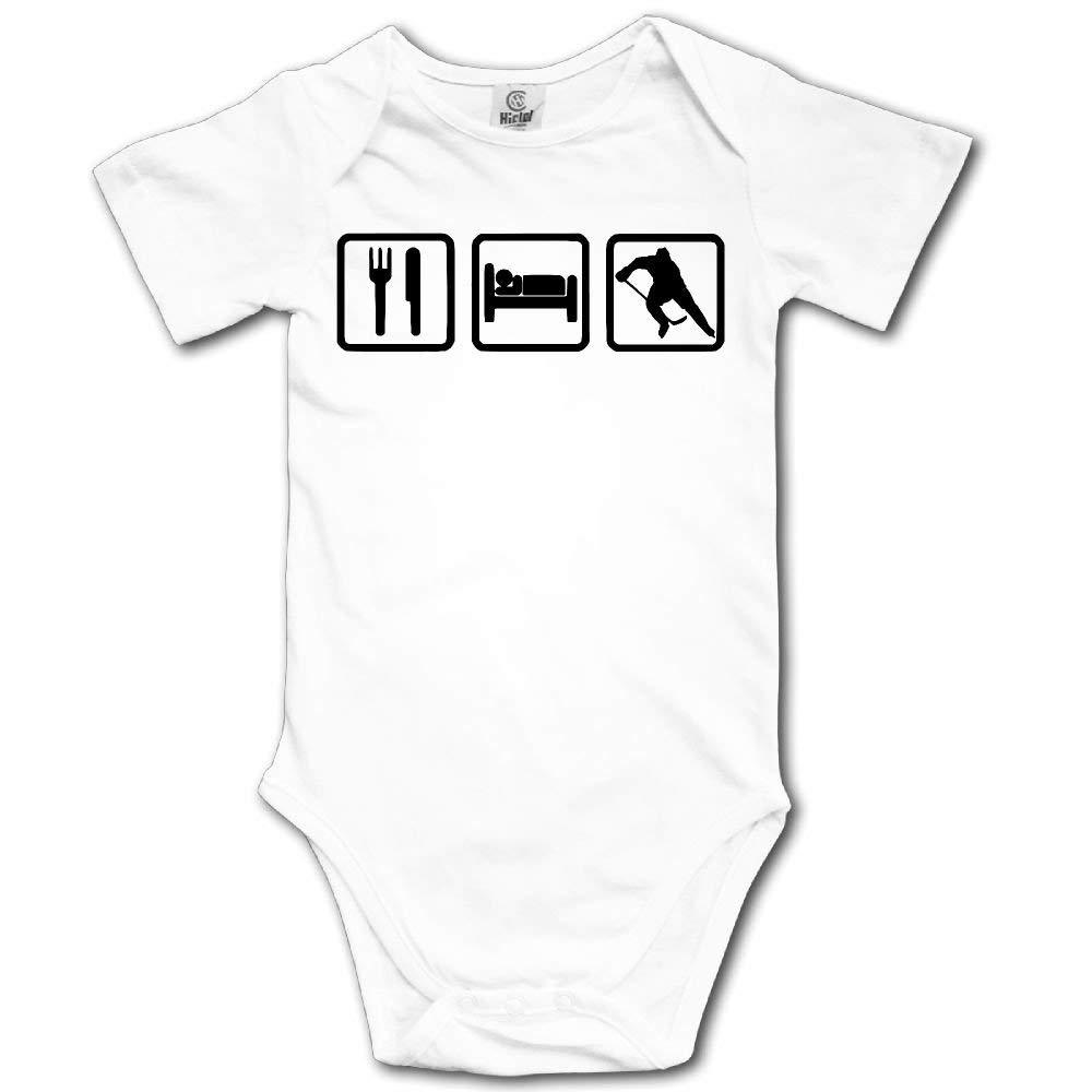 HFJFJSZ Eat Sleep Hockey (Player) Short Sleeve Baby Bodysuit Onesies