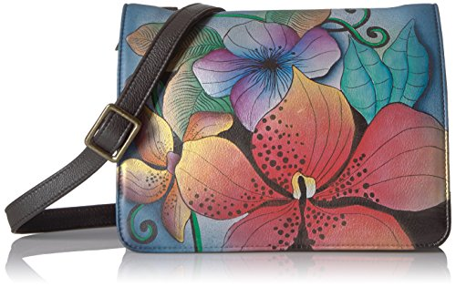 Medium Anuschka Saddle Midnight Handpainted Floral Crossbody Anna Midnight Floral Leather qFSFxHt