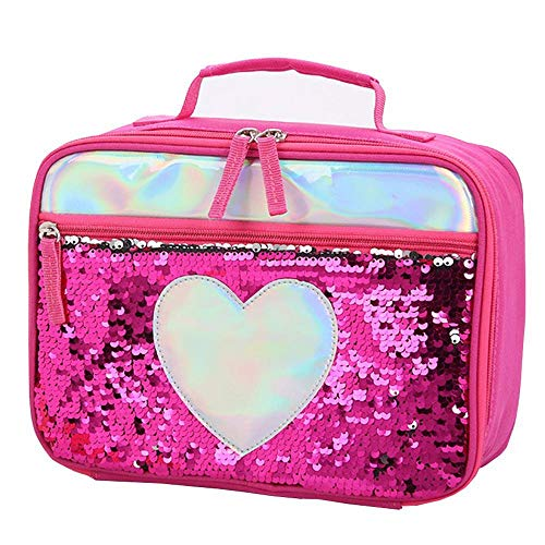 (FOONEE Sequin Lunch Box for Girls, Large Capacity Flip Sequins Insulated Lunch Tote Bag, Reversible Sequin Flip Color Change Fashion Lunch Tote with Zip Front Pocket)