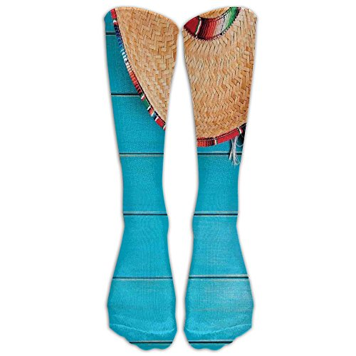 Luomendi Long Tube Socks Sombrero And Maracas On Wood Stockings Knee High Socks Sports Socks ForWomen Men (Maraca Sports)