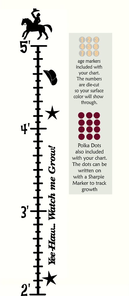 Black Kids Cowboy Wall Vinyl Sticker Growth Chart 2ft 5ft