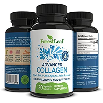 Advanced Collagen Supplement, Type 1, 2 and 3 with Hyaluronic Acid and Vitamin C - Anti Aging Joint Formula - Boosts Hair, Nails and Skin Health - 120 ...