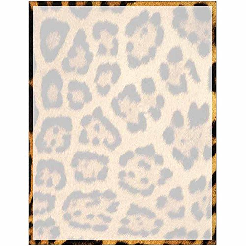 Full Leopard Print with Border Stationery Letter Paper - Wildlife Animal Theme Design - Gift - Business - Office - Party - School Supplies