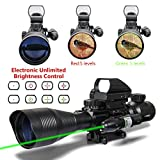 Aipa AR15 Rifle Scope Tactical Combo 4-12x50EG Dual Illuminated and 4 Reticles Red Green Dot Sight for Hunting 22&11mm Weaver/Picatinny Rail Mount (24 Month Warranty)