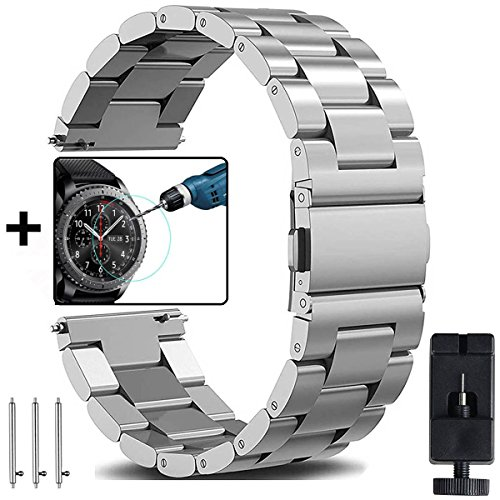 Samsung Galaxy Watch 46mm & Gear S3 Bands, OTOPO 22mm Solid Stainless Steel Watch Strap Replacement Bracelet for Galaxy Watch 46mm & Gear S3 Frontier/S3 Classic Smartwatch (Silver,22mm)
