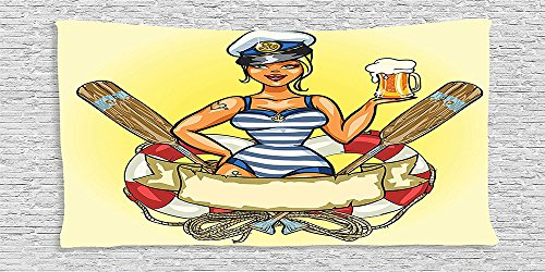[Cotton Microfiber Bathroom Towels Ultra Soft Hotel SPA Beach Pool Bath Towel Girly Pin Up Sexy Sailor Girl in Lifebuoy with Captain Hat and Costume Glass of Beer Feminine Design] (Biblical Themed Costumes)