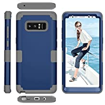 Galaxy Note8 Case, MCUK [Shockproof] 3 in 1 High Impact Hybrid Armor Defender Silicone Rubber Hard Skin Heavy Duty Full-Body Protective Case Cover for Samsung Galaxy Note 8 (Navy Blue+Grey)