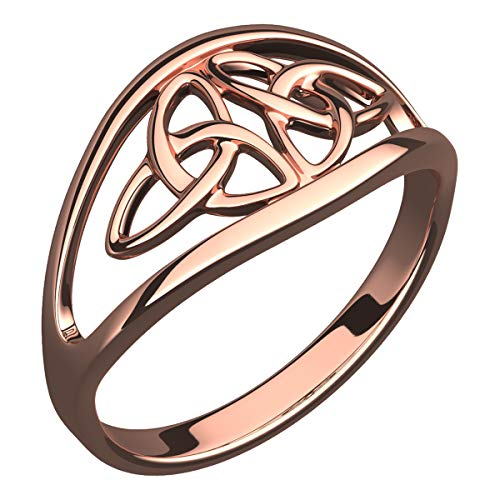 Double Trinity Knot - UPCO 18K Rose Gold Plated Celtic Ring with Double Trinity Knot, Symbolises Never-Ending Love – 7
