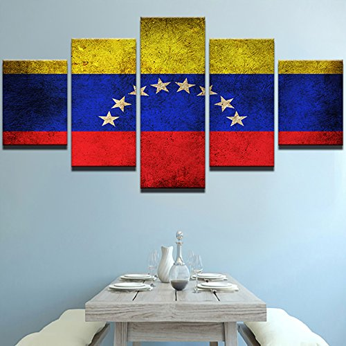 PEACOCK JEWELS [Small] Premium Quality Canvas Printed Wall Art Poster 5 Pieces/5 Pannel Wall Decor Venezuela Flag Painting, Home Decor Pictures - Stretched
