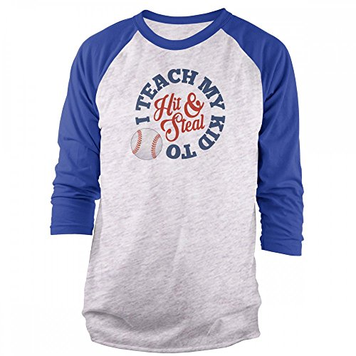 Vine Fresh Tees - I Teach My Kid to Hit and Steal - Baseball 3/4 Sleeve Raglan T-Shirt - X-Large, Ash w/Royal