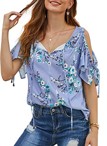 (Astylish Women's Cold Shoulder Shirt Ruffle Short Sleeve Summer T-Shirt Floral Printed V Neck Loose Blouses Tops Medium 8 10 Sky Blue)