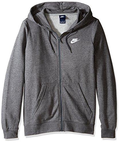 Nike Womens Sportswear Hoodie Charcoal Heather/White X-Large