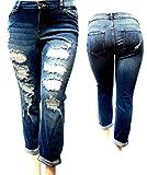 V-OK Womens Plus Size Sexy Boyfriend Denim Jeans Ripped Distressed Strech Pants (2X-Plus)