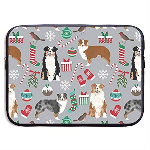 (LiaanQianga Cute Aussie Dog Xmas 13-15 Inch Laptop Sleeve Bag - Tablet Clutch Carrying Case,Water Resistant, Black )