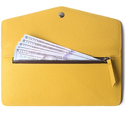 Women's Wallet Leather RFID Ultra-thin Envelope Ladies Purse Travel Clutch (Crosshatch Yellow) by Borgasets (Image #2)