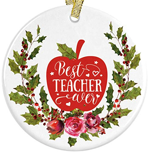 Personalized Teacher Mugs - Best Teacher Ever Ceramic Christmas Ornament, Gift for Educator or Instructor Present Idea + Free Gift Box and Ribbon