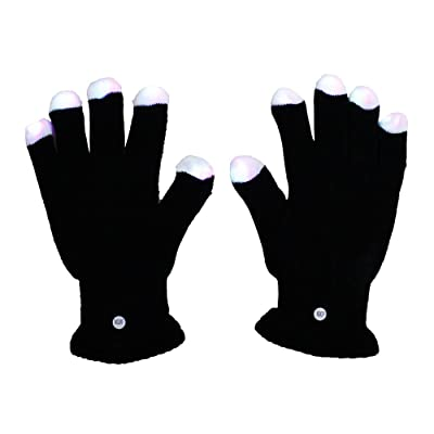 BLACK Rave Gloves - Raver Hands LED Light Show Pair of Gloves: Toys & Games