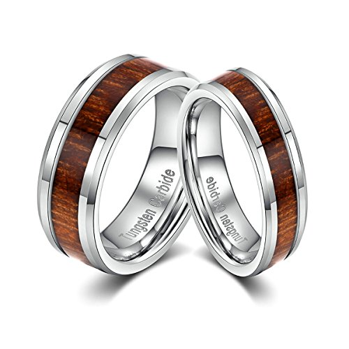 Wood Inlay Tungsten Couple Wed