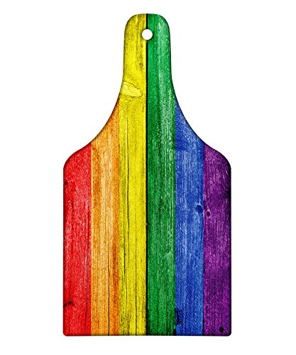 Lunarable Rainbow Cutting Board, Old Tainted Wooden Planks in Rainbow Colors Flag Pattern Pride Theme Vintage Print, Decorative Tempered Glass Cutting and Serving Board, Wine Bottle Shape, Multicolor