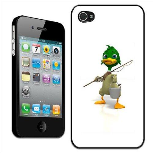Fancy A Snuggle Coque arrière rigide pour Apple iPhone 4/4S Motif canard allant pêcher avec seau et canne