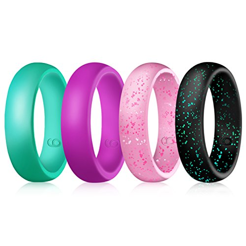 Lovetter Silicone Wedding Rings,Flexible Silicone Wedding Bands for Women,Turquoise