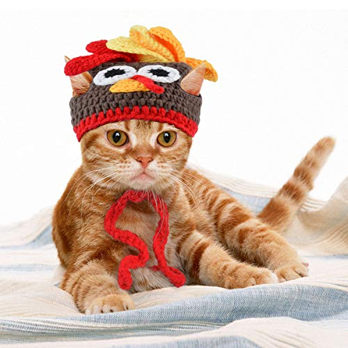 Legendog Cat Costume Christmas Adjustable Cat Santa Clothing with Bell Pet Costumes Pet Apparel for Small Dogs and Cats (Turkey Hat) -