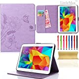Galaxy Tab 4 10.1 Case-LittleMax Embossed Synthetic Leather Butterfly & Flower Pure Color Series Magnetic Closure Stand Case [Cards Holder] Cover for Samsung Galaxy Model SM-T530-Lightpurple