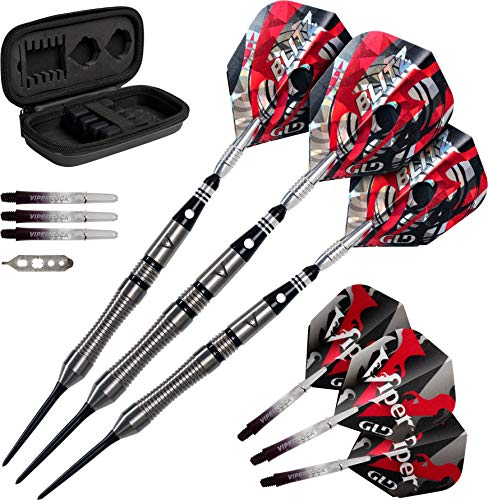 Viper Barrel - Viper Blitz 95% Tungsten Steel Tip Darts with Storage/Travel Case, 22 Grams