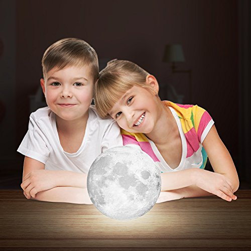 Wpky Moon Lamp Decorative Lights - 5 Inch 3D Printed LED Baby Night Light, Dimmable Color Changing, Touch Sensor Battery Operated LED Table Lamps Bedside Lamp for Bedrooms (5 inch)