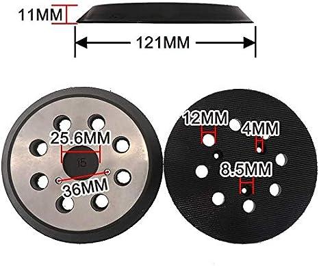 cable Porter Hitachi 324-209 negro Almohadillas de lija de repuesto de 5 pulgadas con 8 agujeros para Makita 743081-8 743051-7 DeWalt 151281-08 DW4388