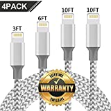 GUIGUI Phone Charger 4Pack 3FT 6FT 10FT 10FT Nylon Braided Charging Cables USB Charger Cord, Compatible with Phone Xs 8 8 Plus 7 7 Plus 6 5 Pad and Pod - Gray White