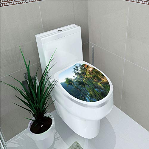 Toilet Sticker 3D Print Design,Balinese Decor,Terrace Rice Fields Palm Trees Traditional Farmhouse Morning Sunrise View Bali Indonesia,Green,for Young Mens,W11.8