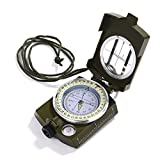 Compass Waterproof Shockproof Hiking Military Navigation Compass with Pouch Lanyard, Zinc Alloy Material, English User Guide Included (GRN)