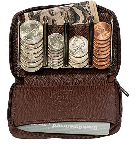 Coin Quick (Coin Purse Wallet With Coin Sorter – Quick Change On The Go – Trusty Coin Pouch For Pocket, Purse Or Car (Dark Brown))