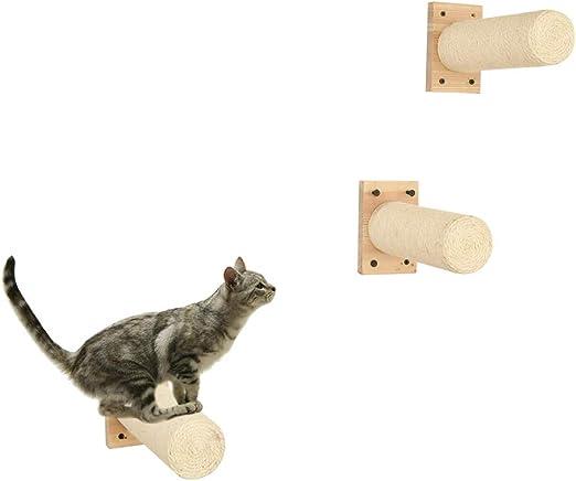 1 piezas Sisal Rascador, Montado en la pared Raspador con Base, Compatible con Árbol del gato,