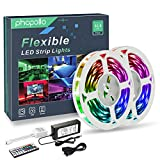 PHOPOLLO LED Strip Lights, 32.8ft RGB Color Changing 5050 300LEDs Non-Waterproof Flexible LED Tape Light Kit with 44 Key IR Remote Controller and 12V Power Supply for Room, Bedroom and Xmas: more info