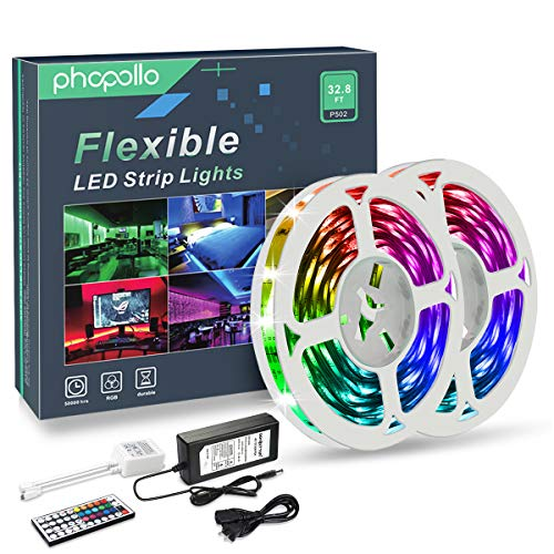 PHOPOLLO LED Strip Lights, 32.8ft RGB Color Changing 5050 300LEDs Non-Waterproof Flexible LED Tape Light Kit with 44 Key IR Remote Controller and 12V Power Supply for Room, Bedroom and Xmas (Led Flexible)