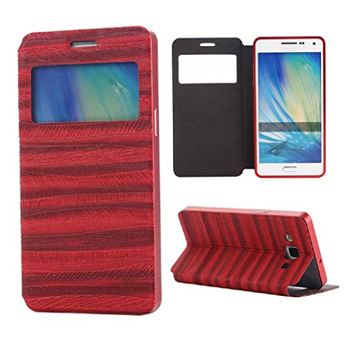 TOOPOOT(TM) Luxury Wood Grain Leather Case for Samsung Galaxy A5 (Red)