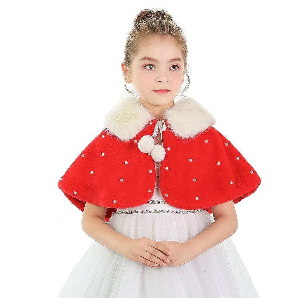 Girls Winter Warm Cape Flower Girl Faux Fur Wraps Cape Sweet Girls Princess Faux Fur Wraps Shoulder Coat