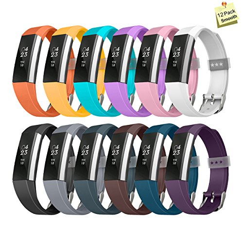THRODY Fitbit Alta Bands 12 Pack , Fitbit Alta and Fitbit Alta HR Replacement Bands Set Fashion Accessories Bracelet Strap with Metal Buckle for Women Men Girls Boys, No Fitness Tracker(Smooth)
