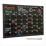 Magnetic Calendar - Smart Dry Erase Board For Your Refrigerator, Kitchen & Office. Stylish Black Chalkboard Monthly Design Planner For All Your Kids Activities + 1 White Liquid Chalk Marker (16''x12'')