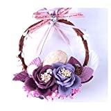 LuckySHD Artificial Flower Ring Rearview Mirror Pendant Car Hanging Decor Ornament - Purple