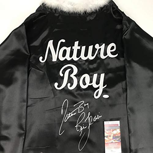 (Autographed/Signed Ric Flair Nature Boy Black WWE Replica Wrestling Robe JSA COA)