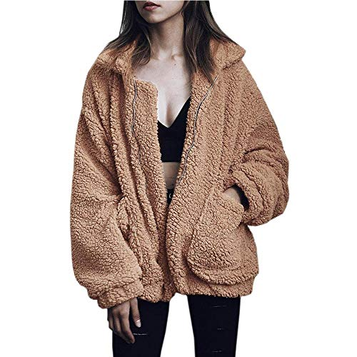 Women Fuzzy Fleece Jacket Winter Casual Faux Fur Coat Zip Up Shearling Shaggy Outwear Top with Pockets (Camel,US M=Tag L)