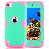 iPod touch 5 case, iPod touch 6 case, SinYong (PC+ Silicone) Anti-slip Shockproof Dustproof slim and stylish protective case for Apple iPod touch 5/6 (Mint green-pink)
