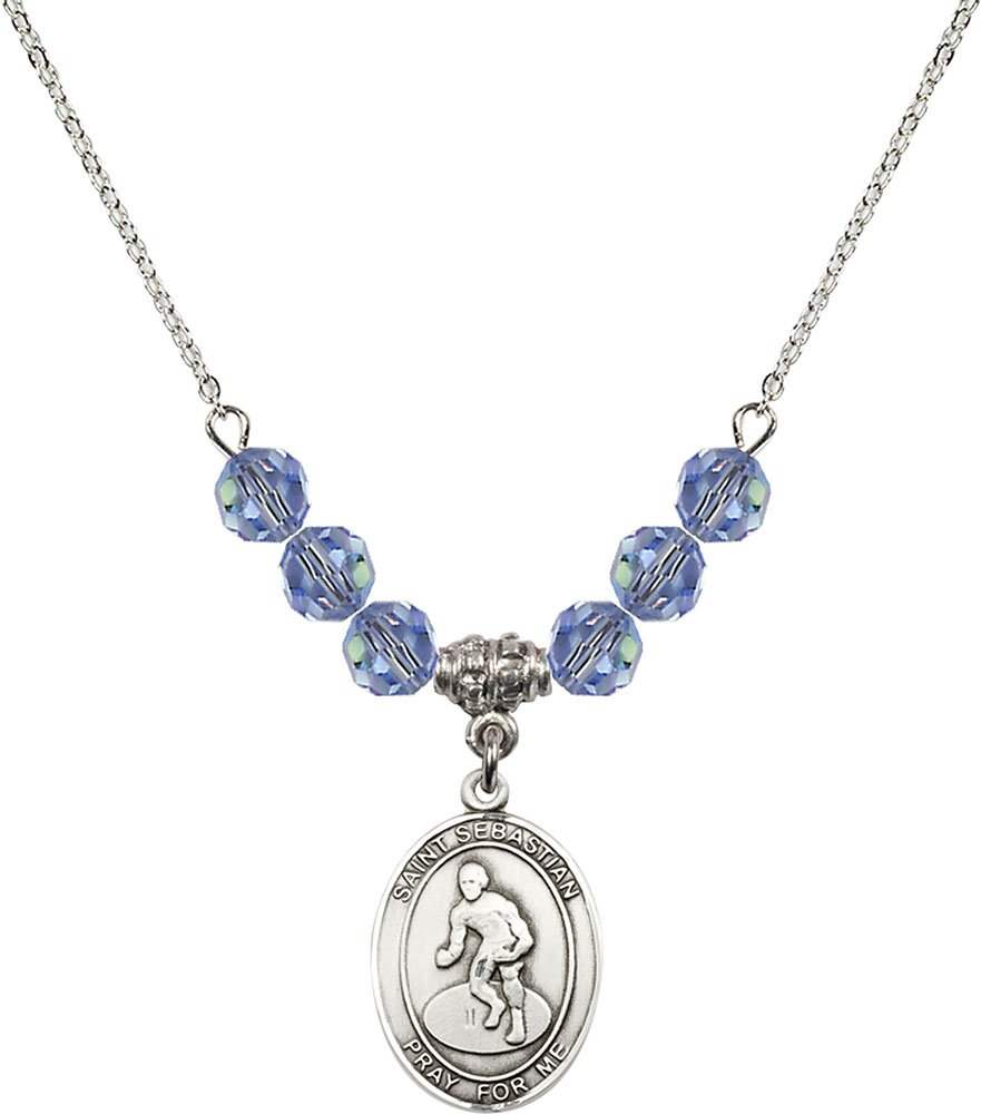 Rhodium Plated Necklace with 6mm Light Sapphire Birthstone Beads & Saint Sebastian/Wrestling Charm. by F A Dumont
