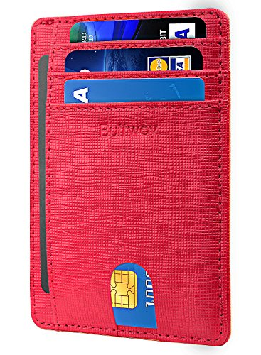 (Slim Minimalist Leather Wallets for Men & Women - Canyon Red)