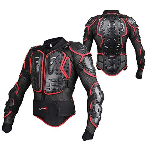 (OHMOTOR Motorcycle Motorbike Full Body Armor Protector Pro Street Motocross ATV Guard Shirt Jacket with Back Protection(Red, L))
