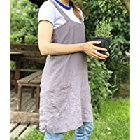 Linen No-Tie Cross Back Japanese Style Pinafore Apron with Two Pockets - XS-XXL Sizes - Natural linen, Green, Blue, Pink and more Colors